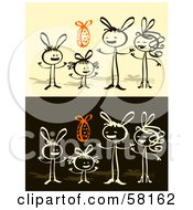 Royalty Free RF Clipart Illustration Of A Stick People Character Family With An Easter Egg by NL shop