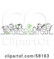 Royalty Free RF Clipart Illustration Of Stick People Character Families With Green Easter Eggs