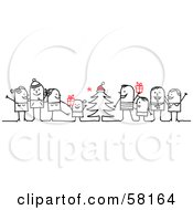 Royalty Free RF Clipart Illustration Of Stick People Character Families Standing Around A Christmas Tree With Gifts
