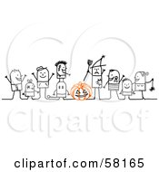 Royalty Free RF Clipart Illustration Of Stick People Character Children Trick Or Treating In Costumes by NL shop