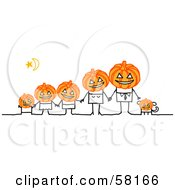 Royalty Free RF Clipart Illustration Of A Stick People Character Halloween Family With Pumpkin Heads