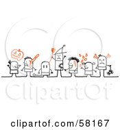 Royalty Free RF Clipart Illustration Of Stick People Character Halloween Kids In Costumes by NL shop