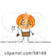 Royalty Free RF Clipart Illustration Of A Stick People Character Kid With A Halloween Pumpkin Head And Spider by NL shop