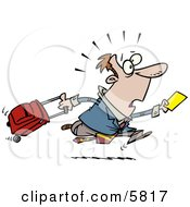 Late Traveler Man Running And Pulling His Luggage At The Airport Clipart Illustration