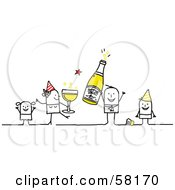 Royalty Free RF Clipart Illustration Of A Stick People Character Family Celebrating The New Year