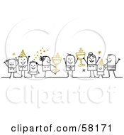 Royalty Free RF Clipart Illustration Of Stick People Character Party On New Years With Champagne by NL shop #COLLC58171-0109
