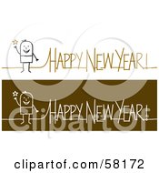 Stick People Character With Happy New Year Greetings