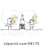 Royalty Free RF Clipart Illustration Of A Stick People Character Couple Celebrating New Years With Champagne