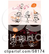 Royalty Free RF Clipart Illustration Of Stick People Characters Celebrating The New Year by NL shop