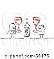 Royalty Free RF Clipart Illustration Of A Stick People Character Couple Celebrating With Champagne