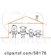 Stick People Character Family Holding Hands In Their Home by NL shop
