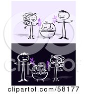 Royalty Free RF Clipart Illustration Of A Stick People Character Mother And Father Standing Over Their Baby