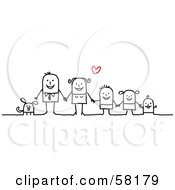 Stick People Character Family Holding Hands And Standing With Their Dog Under A Heart by NL shop