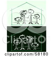 Royalty Free RF Clipart Illustration Of A Stick People Character Family In A House by NL shop