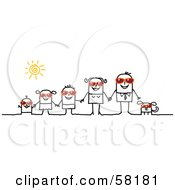 Royalty Free RF Clipart Illustration Of A Stick People Character Family And Dog Wearing Shades And Holding Hands by NL shop