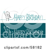 Royalty Free RF Clipart Illustration Of A Stick People Character Happy Birthday Greeting by NL shop