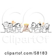 Royalty Free RF Clipart Illustration Of A Stick People Characters Singing Around A Birthday Cake by NL shop
