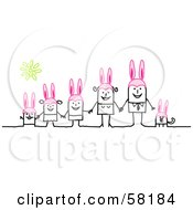 Stick People Character Easter Family And Dog Wearing Bunny Ears