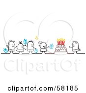 Royalty Free RF Clipart Illustration Of Stick People Character Kids With Presents Singing To A Birthday Boy by NL shop