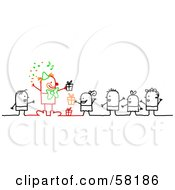 Royalty Free RF Clipart Illustration Of Stick People Character Children With Gifts Watching A Clown At A Birthday Party by NL shop