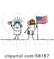 Royalty Free RF Clipart Illustration Of A Stick People Character Couple Touring America With A Flag And Statue Of Liberty