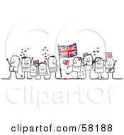 Stick People Character Crowd Celebrating With Union Jack Flags
