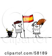 Royalty Free RF Clip Art Illustration Of A Stick People Character Couple Touring Spain With A Bull And Flag