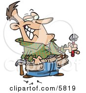 Handy Man Holding Tools And Smiling Clipart Illustration by toonaday