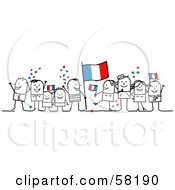 Stick People Character Crowd Celebrating With France Flags