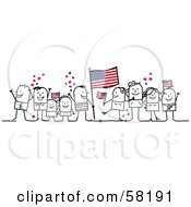 Stick People Character Crowd Celebrating With American Flags