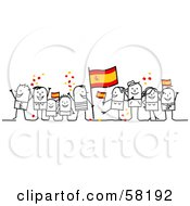 Stick People Character Crowd Celebrating With Spain Flags