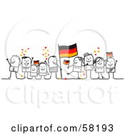 Stick People Character Crowd Celebrating With German Flags