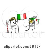 Stick People Character Couple Touring Italy With A Flag