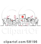 Stick People Character Crowd Celebrating With Japan Flags