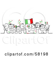 Stick People Character Crowd Celebrating With Italy Flags