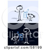 Royalty Free RF Clipart Illustration Of A Stick People Character Dad Receiving A Fathers Day Present From His Daughter by NL shop