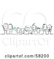 Royalty Free RF Clipart Illustration Of Stick People Character Dads Receiving Gifts From Their Children by NL shop