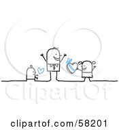 Royalty Free RF Clipart Illustration Of Stick People Character Children Giving Their Dad Love And Candy On Fathers Day by NL shop