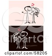 Stick People Character Couple In Love On Valentines Day