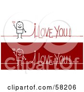 Stick People Character Man On An I Love You Greeting
