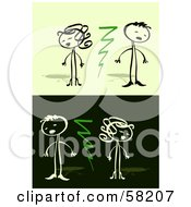 Royalty Free RF Clipart Illustration Of A Stick People Character Couple Being Divided By Lightning