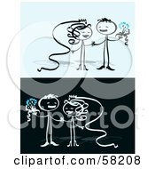 Royalty Free RF Clipart Illustration Of A Stick People Character Couple Getting Married And Having Fun by NL shop