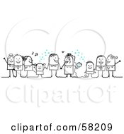 Royalty Free RF Clipart Illustration Of A Stick People Character Wedding With The Guests Tossing Confetti