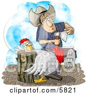 Farmer Getting Ready To Butcher A Chicken Clipart Illustration by Dennis Cox