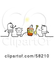 Royalty Free RF Clipart Illustration Of A Stick People Character Family Playing In The Sand On A Beach