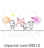 Stick People Character Family On Vacation Holding A Shell Starfish And Hibiscus