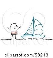 Royalty Free RF Clipart Illustration Of A Stick People Character By A Sailboat by NL shop