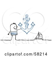 Stick People Character Man Holding An Anchor Near A Sailboat
