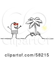 Royalty Free RF Clipart Illustration Of A Stick People Character Man Standing On A Tropical Island