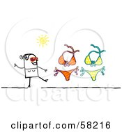 Royalty Free RF Clipart Illustration Of A Stick People Character Woman With Two Bikinis